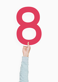 holding a number 8