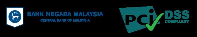 Bank Negara Malaysia and PCI DSS Compliant logo