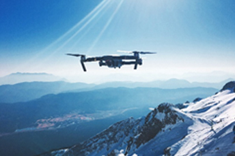 drone flying in ice mountain