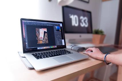 using photoshop using a laptop