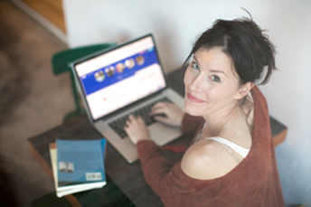 a female is shopping online