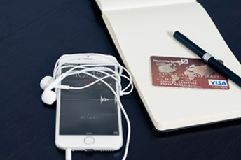iphone, credit card and notes